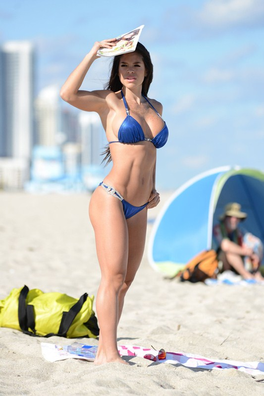 EXCLUSIVE: Michelle Lewin, a Venezuelan fitness model, shows off her fit figure in a Vizcaya Luxury Bikini on Miami Beach