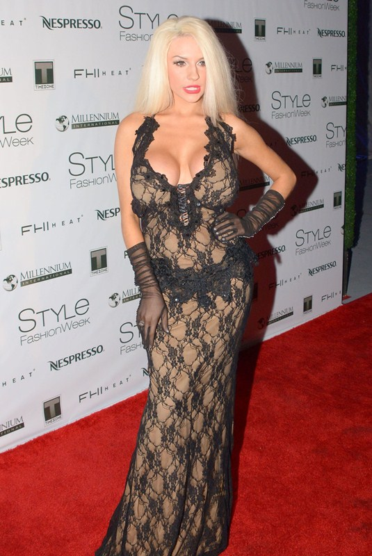 Television Personality Courtney Stodden wearing a stunning black gown by Marika Designer, attends glamorous evening at Style Fashion Show Party in Los Angeles