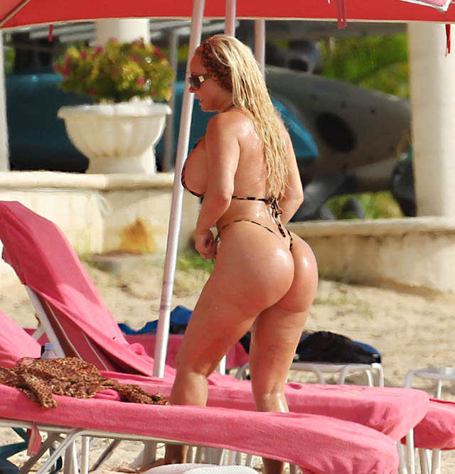 Actor Ice-T and wife Coco are pictured at the beach while on holiday in Barbados