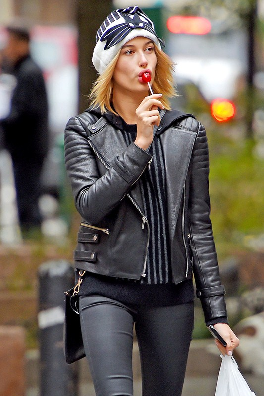 Hailey Baldwin walks out with a Lollipop in NYC - Part 2