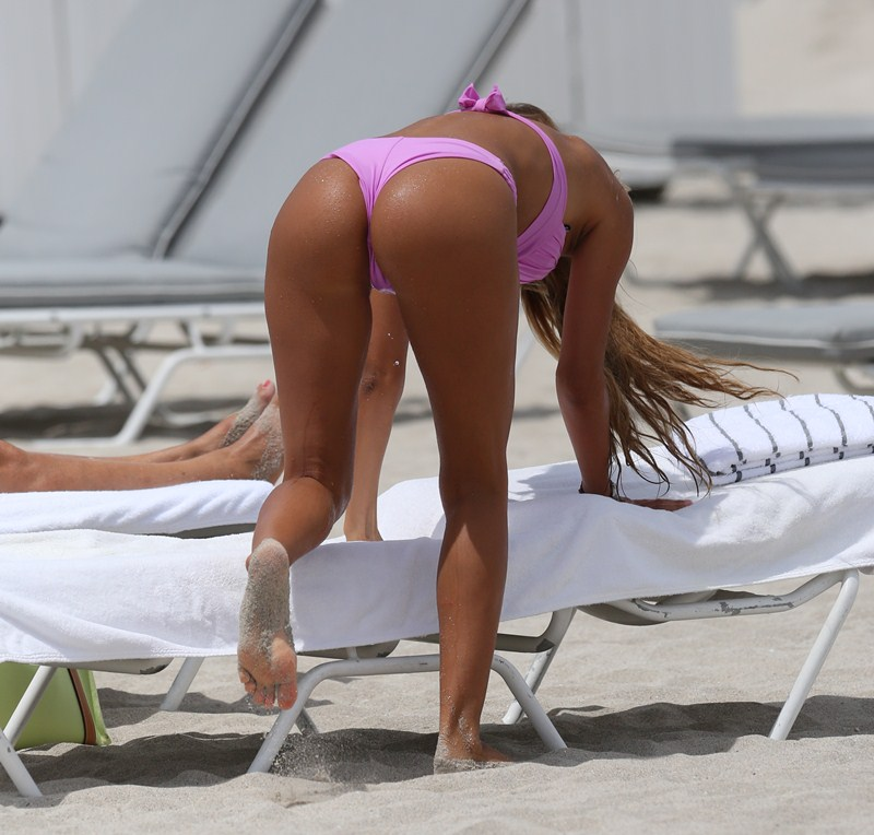 EXCLUSIVE: Melissa Castagnoli,on Miami Beach in a sexy pink bikini.