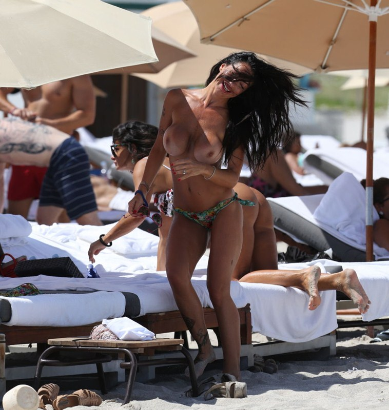 **WARNING NUDITY**Adult star Priscilla Salerno  goes topless on Miami Beach