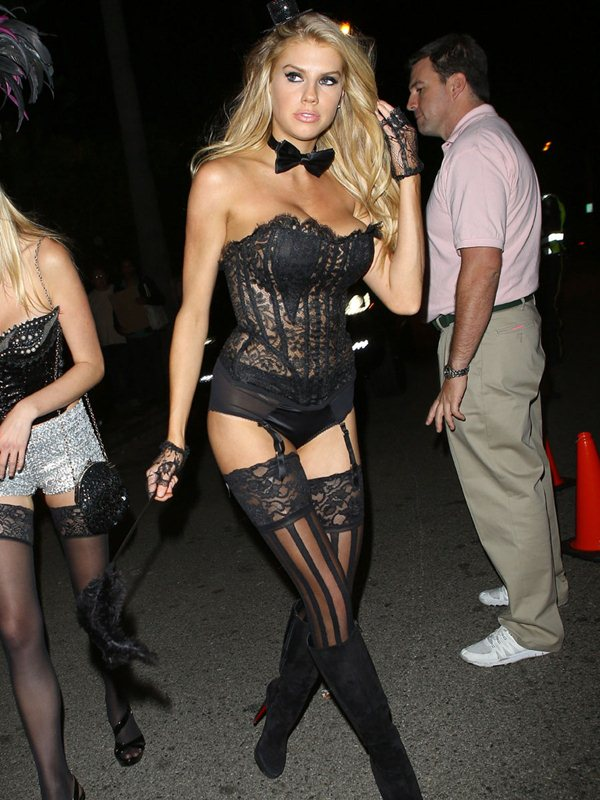 Charlotte McKinney is sexy in lingerie out for a Halloween party