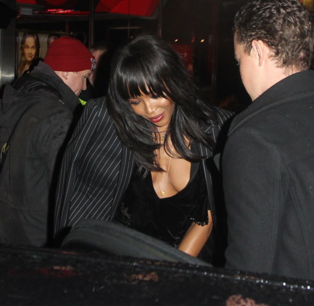 Naomi Campbell leaving the Charlotte Tilbury store party