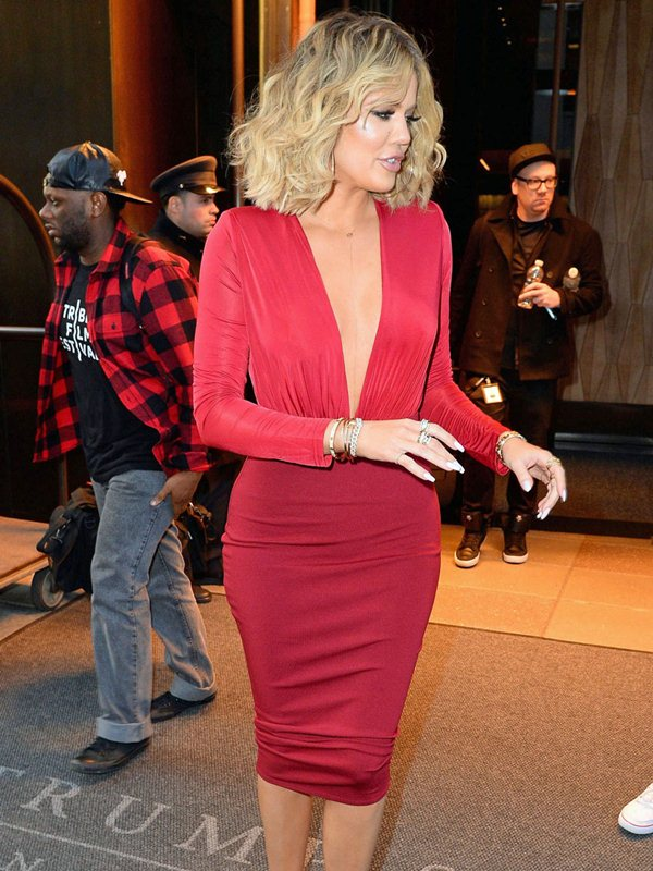 """Khloe Kardashian leaves for """"Live with Kelly and Michael"""" looking ravishing in red"""