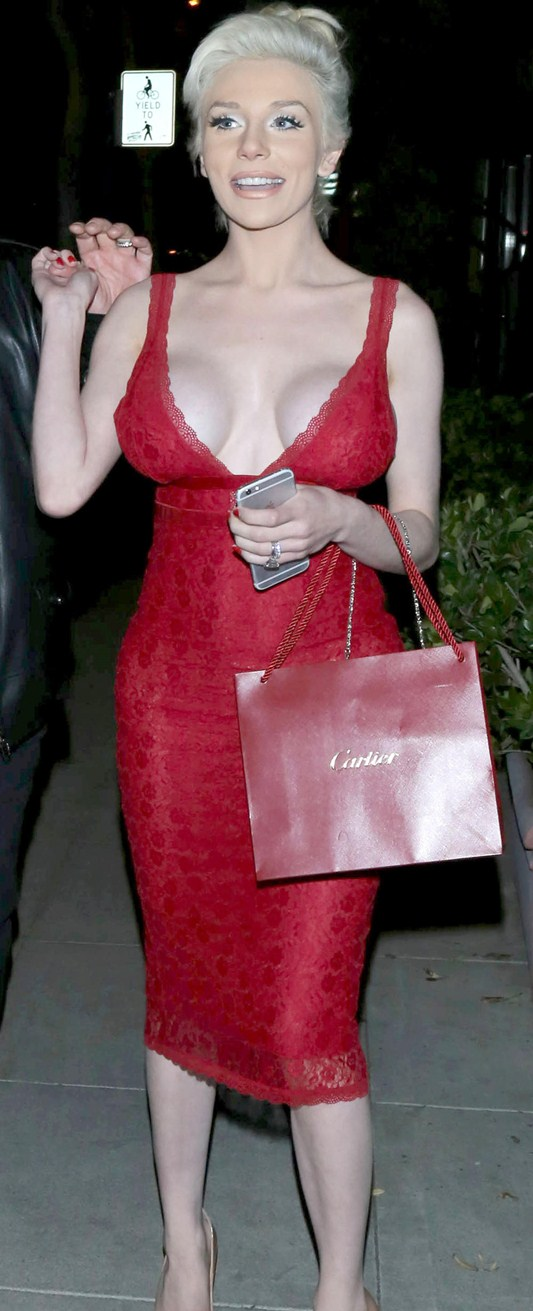 Courtney Stodden looking sexy in red for Valentine's' date with Doug Hutchison