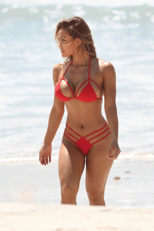 Daphne-Joy-Red-Bikini-Punta-Mita-Beach-Kanoni-1