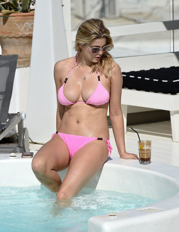 Ashley-James-in-a-Pink-Bikini-Pool-Mykonos-Kanoni-2