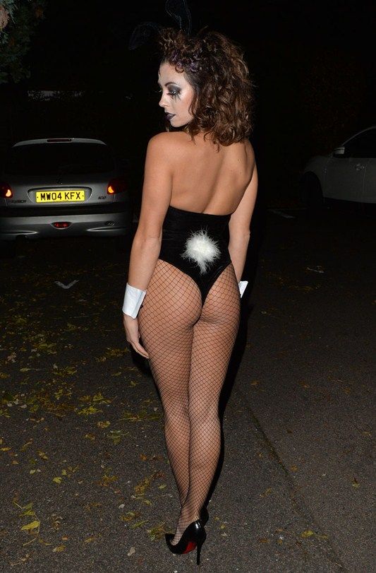 Pascal Craymer dressed as a zombie Playboy bunny attends a Halloween party in London